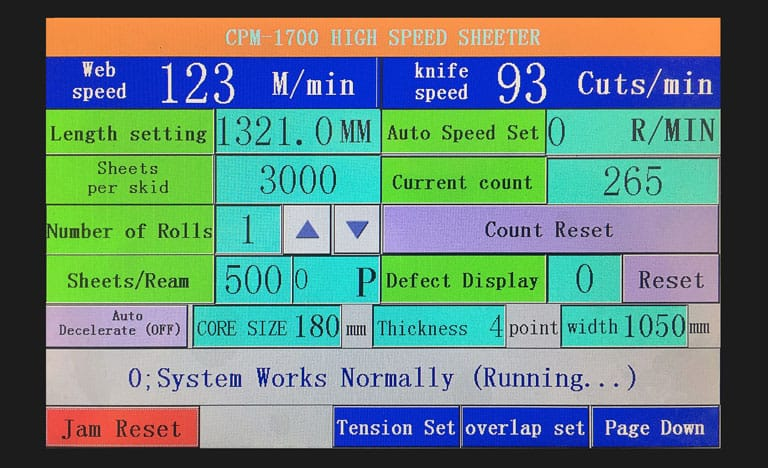 CHM paper sheeter touchscreen controls