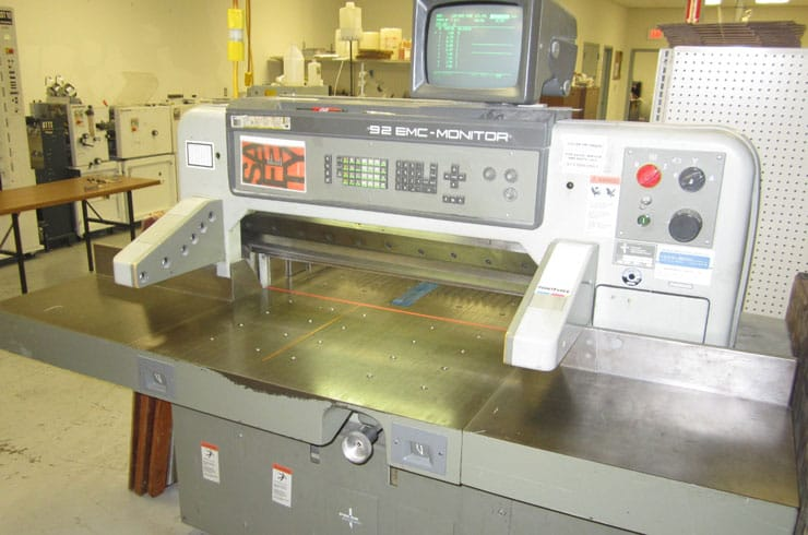"Used Polar 36"" 92 EMC Monitor Paper Cutter Machine"