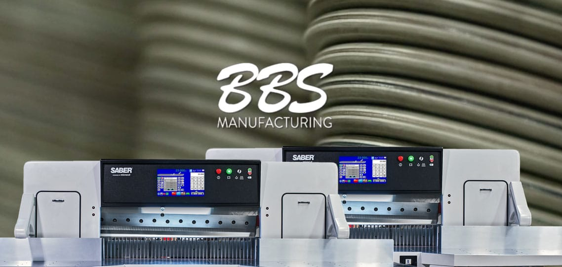Image of the BBS logo and two SABER Paper Cutters