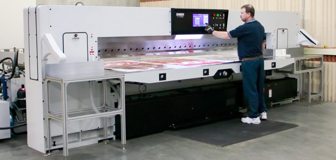 SABER industrial paper cutter safety features
