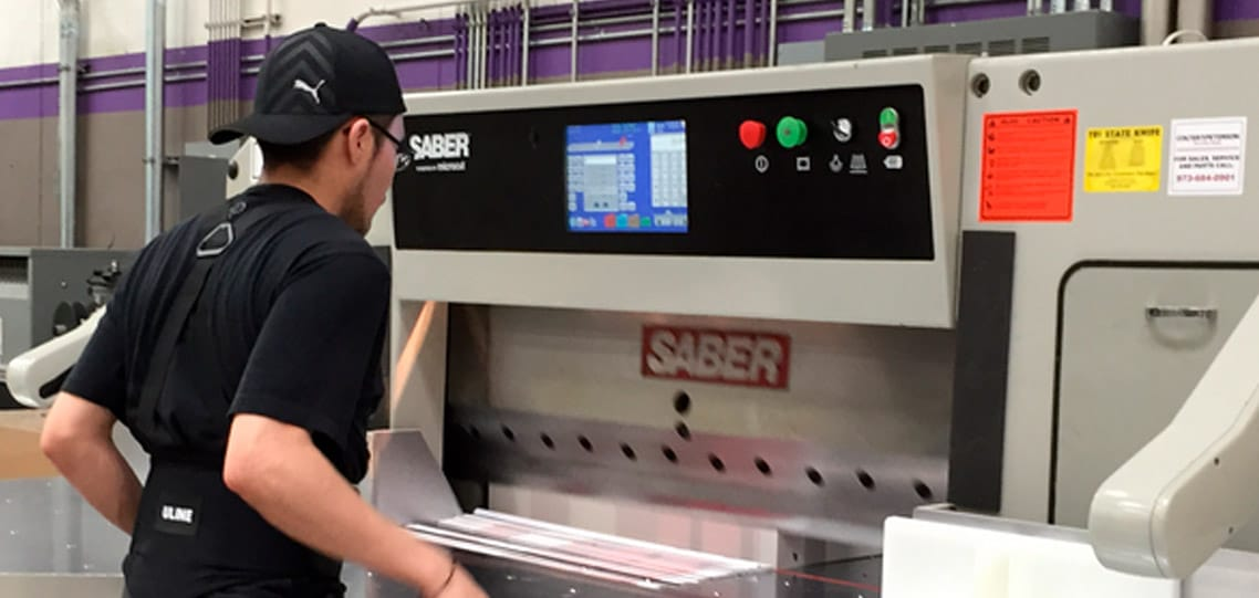 SABER X-15 paper cutter with automated backgauge