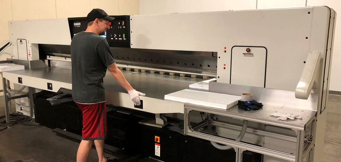 Large format paper cutter for large plastic sheets
