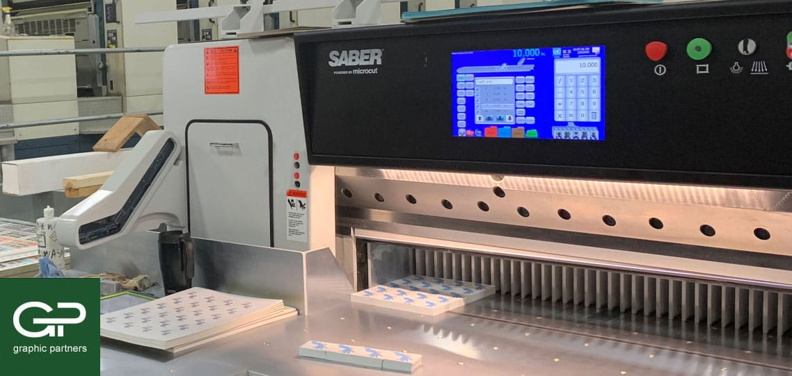 SABER paper cutter at Graphic Partners commercial printer